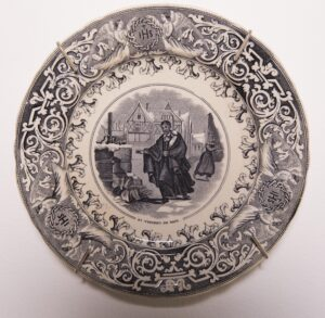Transferware in blue ink, opaque porcelain decorative plate 8 x 8 in.