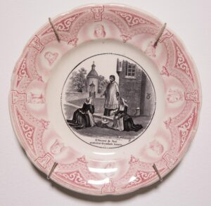 Transferware in red and black ink, opaque porcelain decorative plate; fifth in series 8 x 8 in.