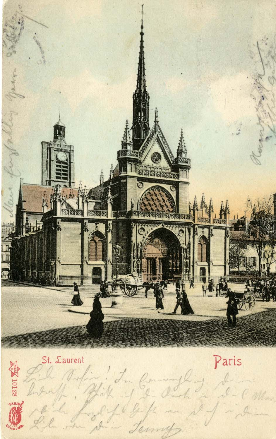 Postcards featuring exterior views of the façade of Saint-Laurent,  notable in particular for capturing the day-to-day street life of Parisians.