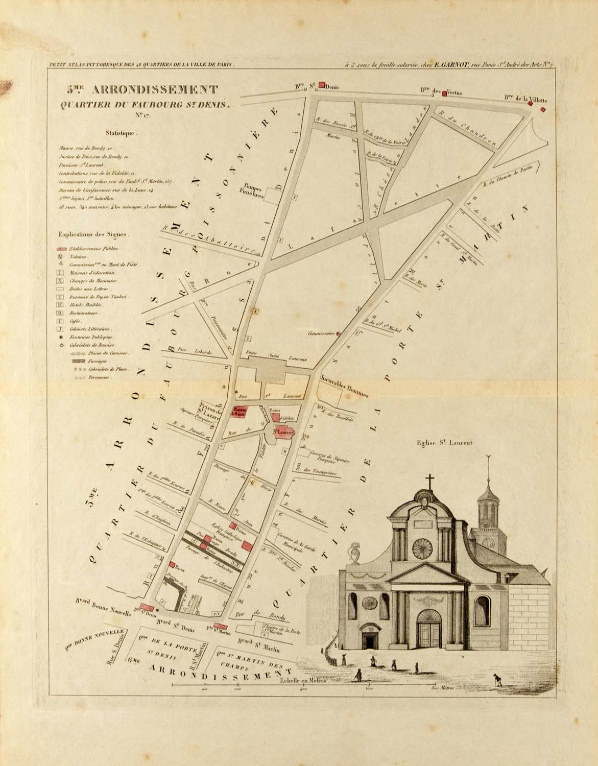 Hand colored map by Aristide Michel Perrot, c. 1834,  features the baroque façade of the Eglise Saint-Laurent.
