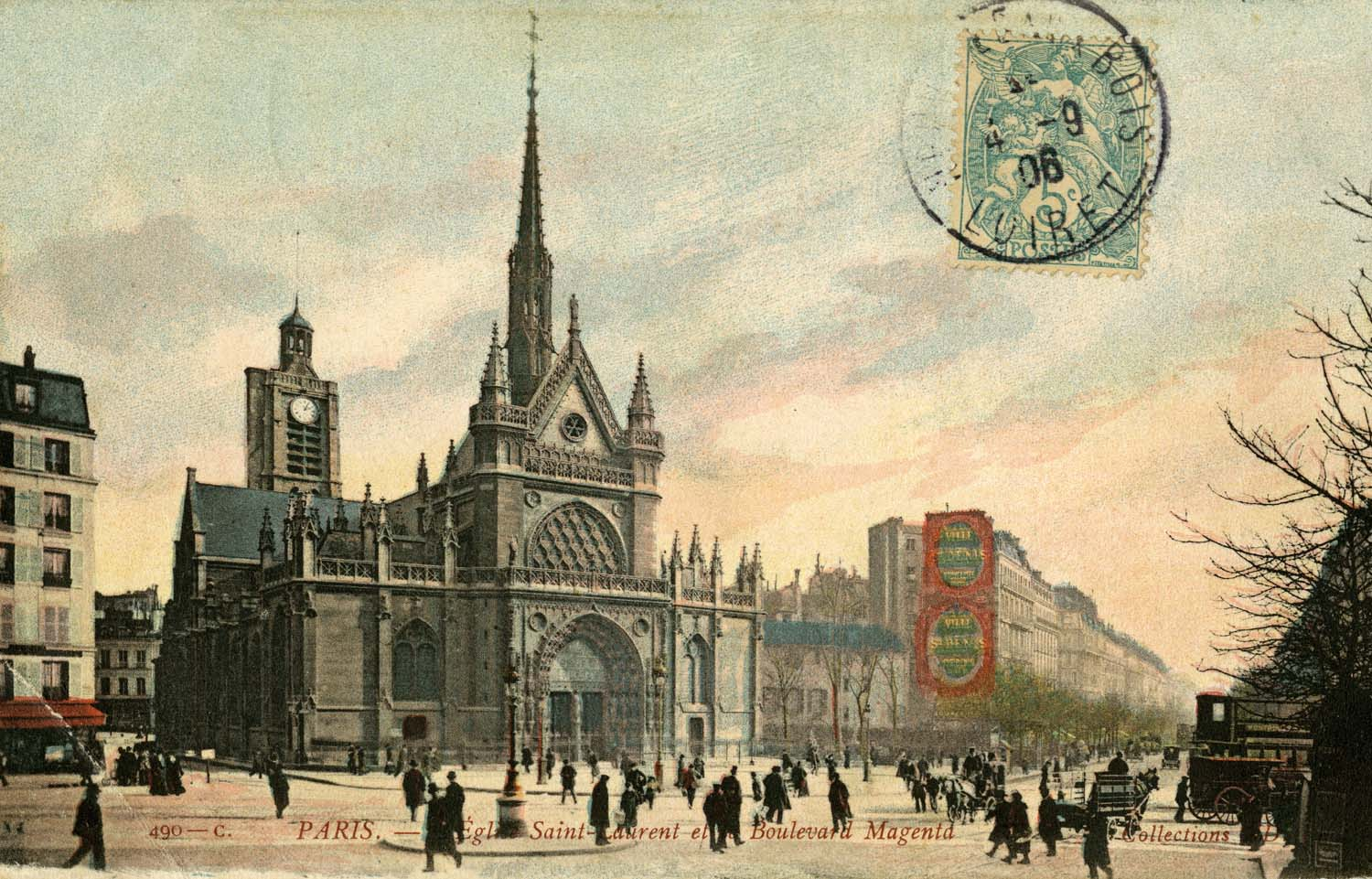 Eglise Saint-Laurent et le Boulevard Magenta. Postcard dated 4 September 1906.