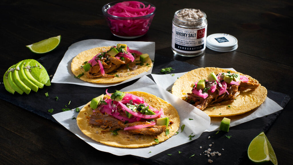 Pulled Pork Carnitas with pickled onions, chunky avocado and Whisky Salt.