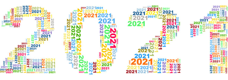 Banner of the number 2021 filled with smaller 2021 in various colors
