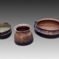 19th century copper pots from Nepal