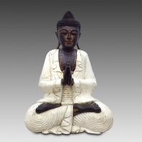 Contemporary Buddha caving with custom white laquer