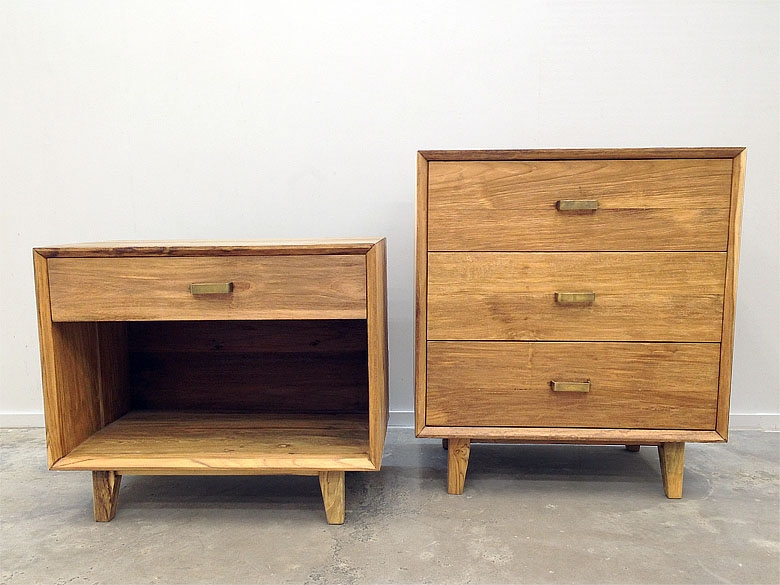 Reclaimed wood nightstand and dresser made from recycled teak