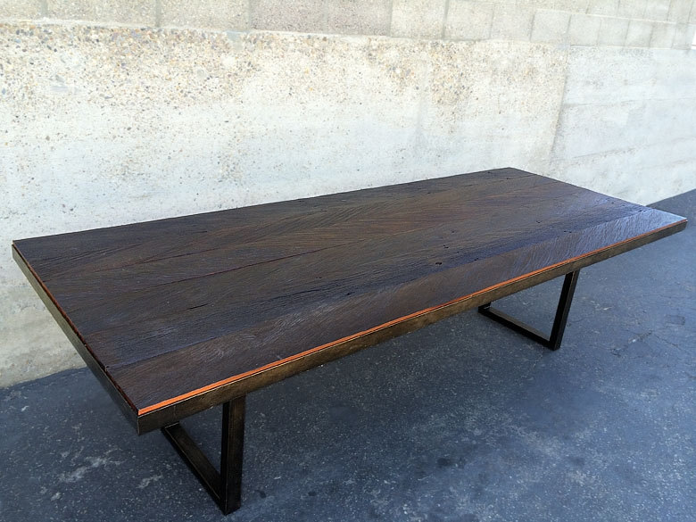 Reclaimed Wood dining table ironwood beams and steel frame