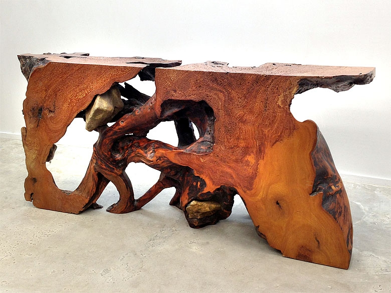 Reclaimed wood console table made from salvaged rosewood root