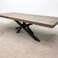 Reclaimed Teak dining table on custom steel base