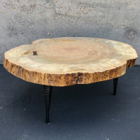 Maple coffee table with cast bronze chisel legs