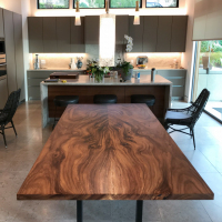 Book matched Acacia dining table with trimmed edge