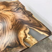 Clear acrylic fill on Acacia