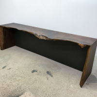 Double waterfall, live edge, Walnut console table with blackened steel backing