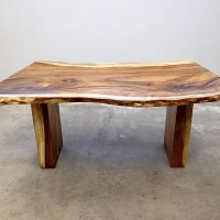 Acacia desk with matching panel legs