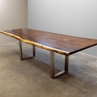 Acacia dining table with brushed stainless steel base