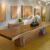 Large Acacia slab table with pillar bases