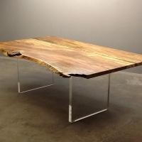 Mango dining table with custom acrylic panel legs