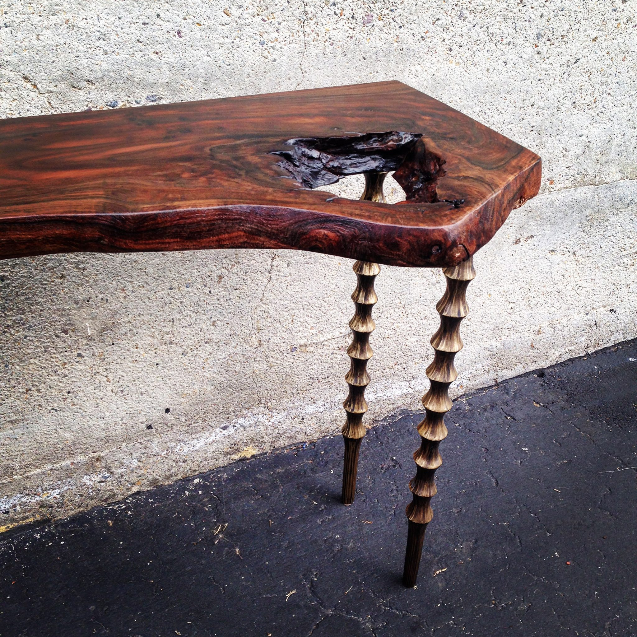 Live edge wood slab side table with carved wood legs