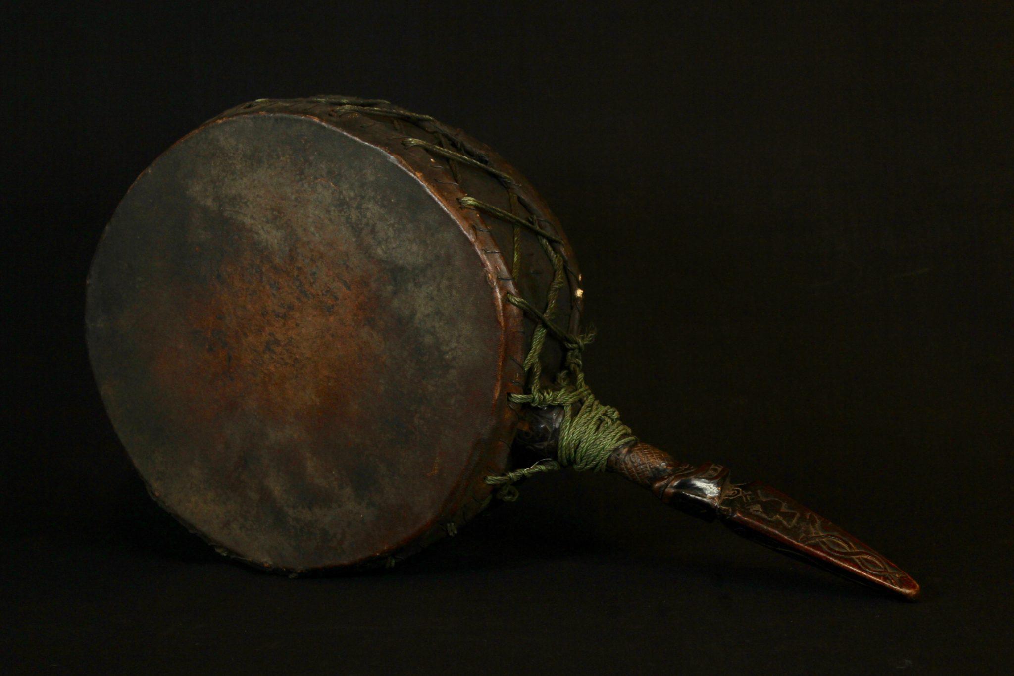 Dhyango with Phurba Handle Sacred Ritual Drum, Nepal Early 19th