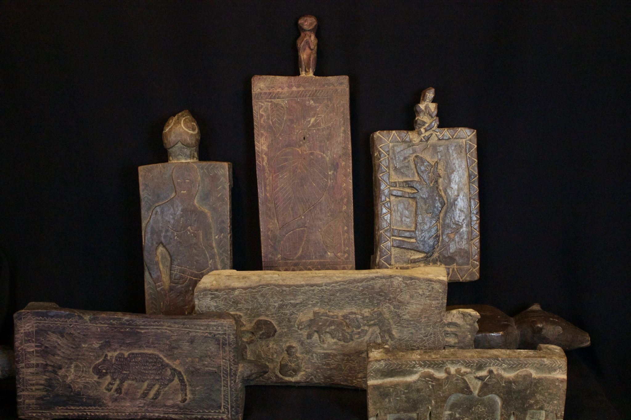 """Hand Carved Wooden Ceremonial Shaman Stools, from the late 19th to mid 20th century, Wood, Used for meditation and for ritual ceremonies. 12"""" to 14"""", $185. to $320."""
