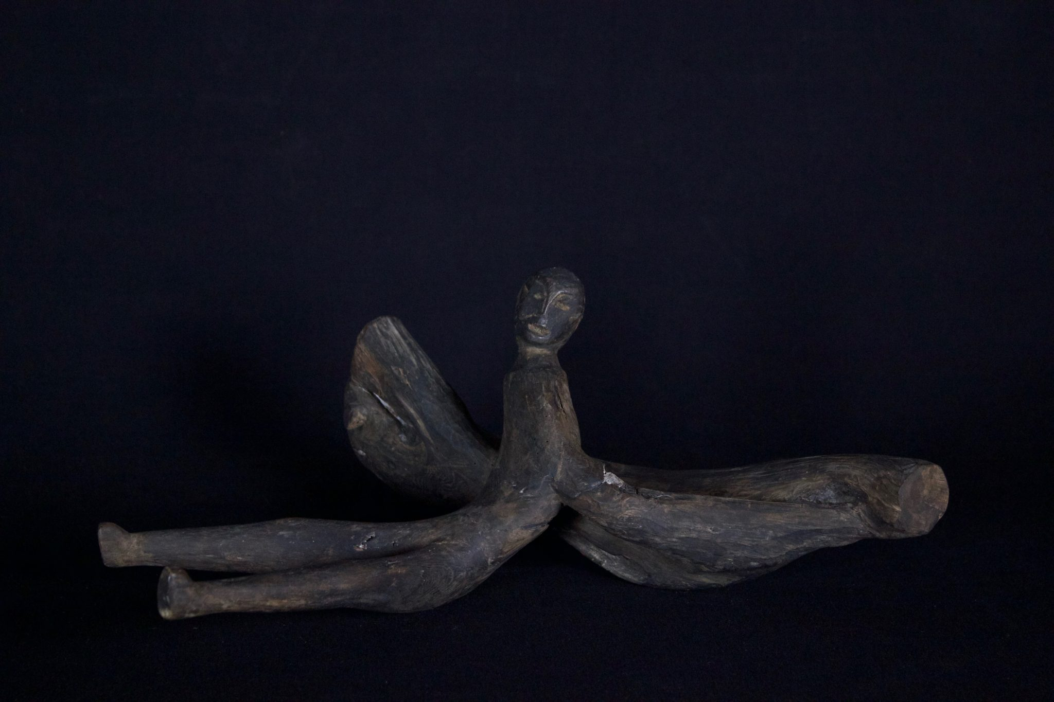 """Shaman Healing Fetish, Kalimantan, Borneo, Indonesia, Dayak tribe, Early 20th c, Wood, pigmented with soot, patinated with age and use. For healing rituals. 6 ½"""" x 13"""" x 10"""", $250."""