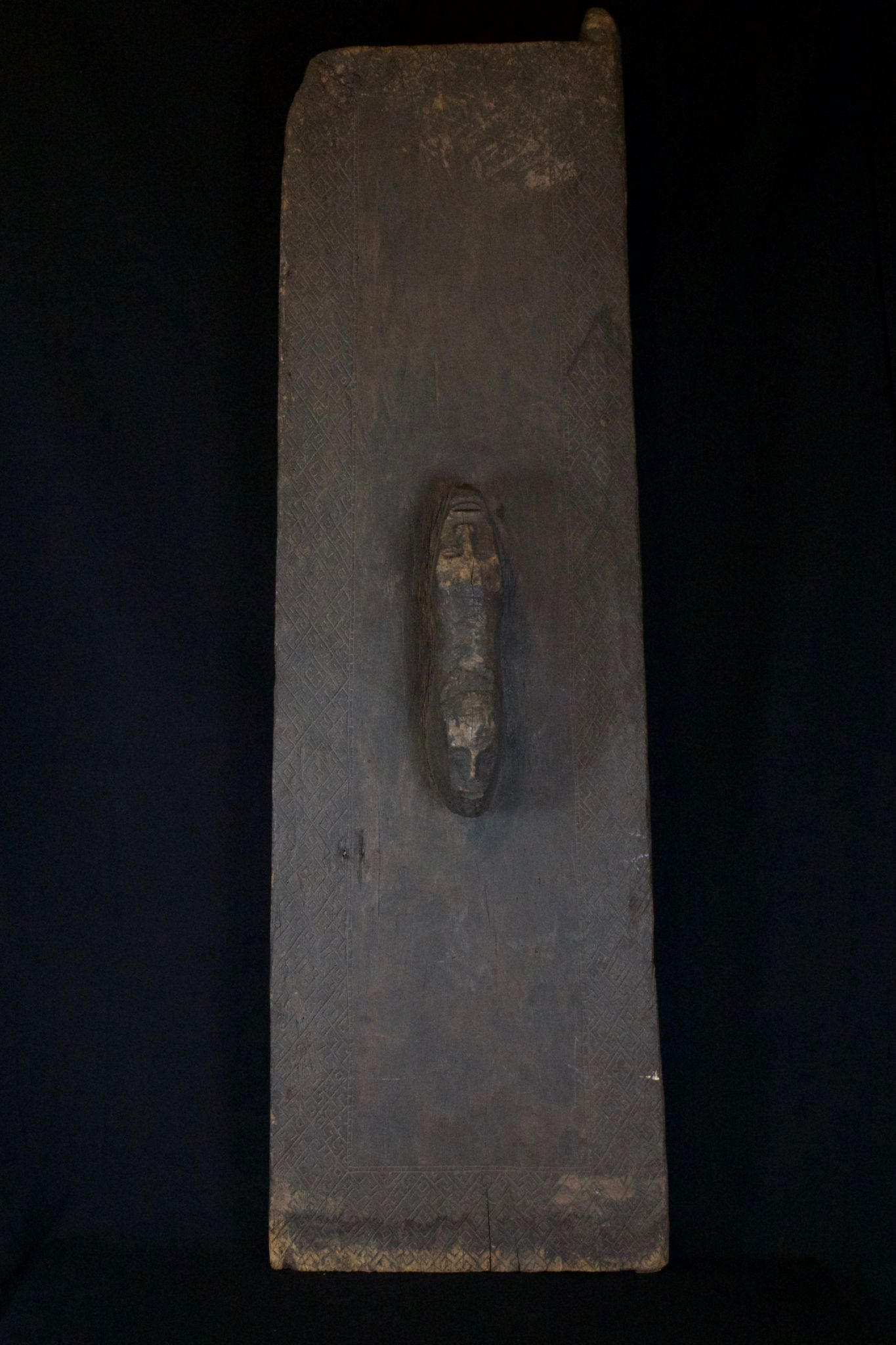 "Shaman Ritual Spirit Door, Sumatra, Indonesia, Batak tribe, Late 19th c, Wood, patinated with age and use. 52 ¼"" x 16"" x 6 ½"", $2200."