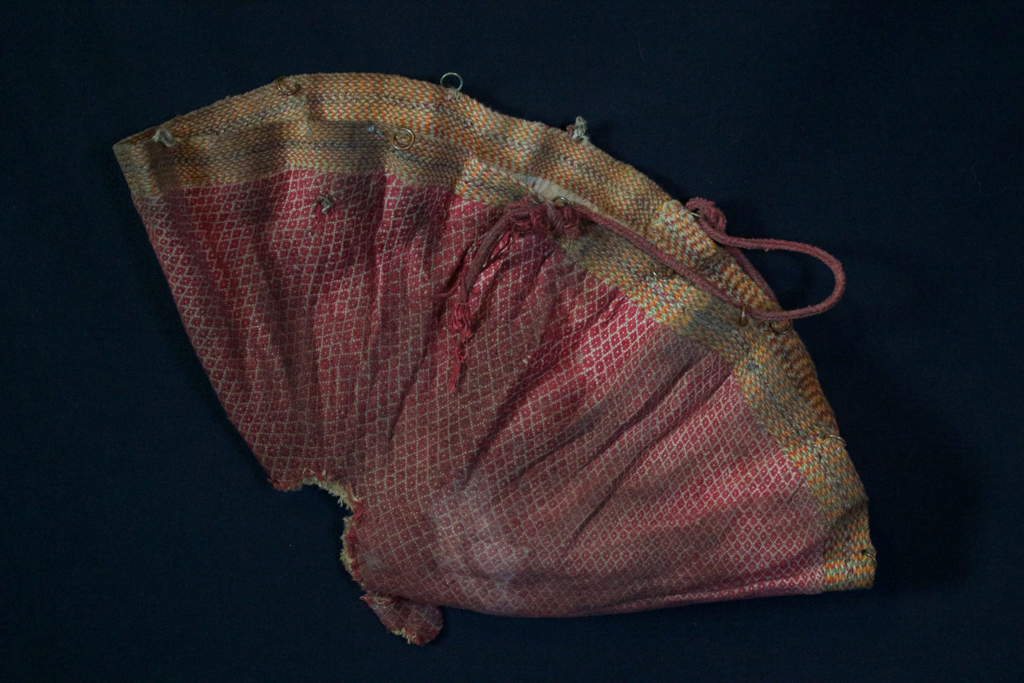 """Shaman Bag, Vietnam, Yao people, Late 19th to early mid c, Cotton and silk The shaman use this to keep and carry magic ritual items. 8"""" x 15"""" x ½"""""""