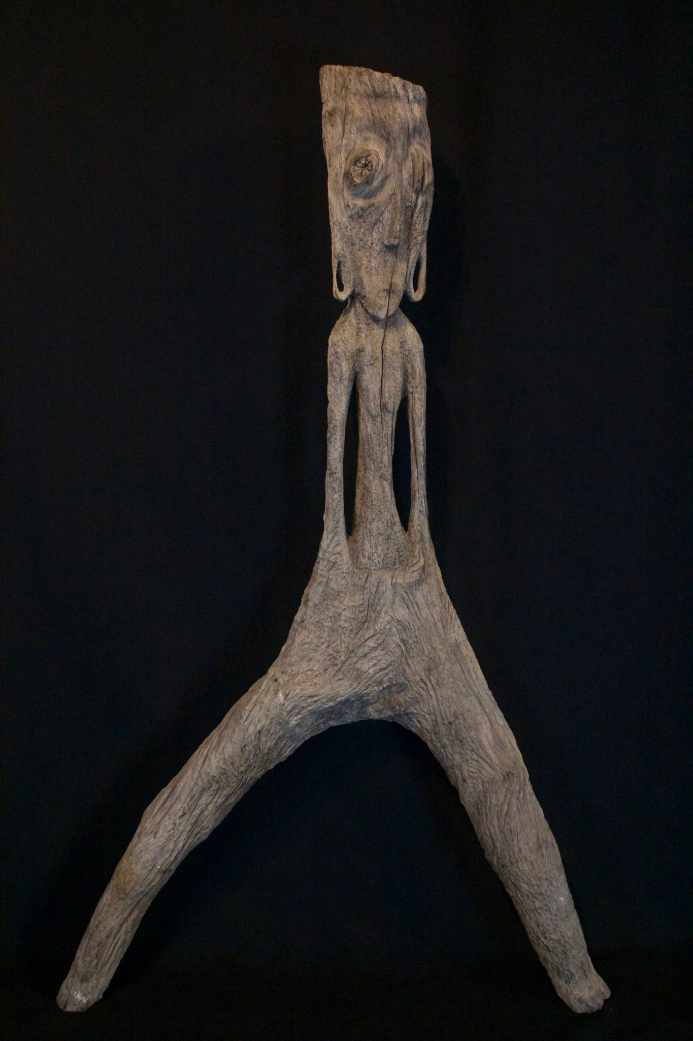 """Magic Protection Figure Kalimantan, Borneo, Indonesia, Dayak tribe, Early to mid 19th c, Ironwood, patinated with use and age. Protection from harmful spirits. 35"""" x 21 ½"""" 8"""", $1600."""
