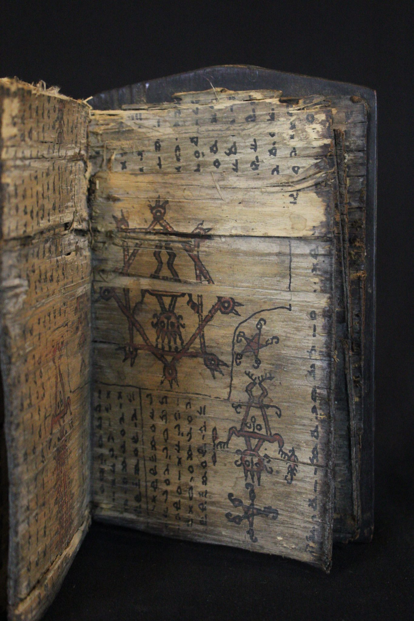 Inside Detail of Shaman's Medicine/Magic Book, Sumatra, Indonesia Batak tribe, Early 19th c, Wood cover, bark pages