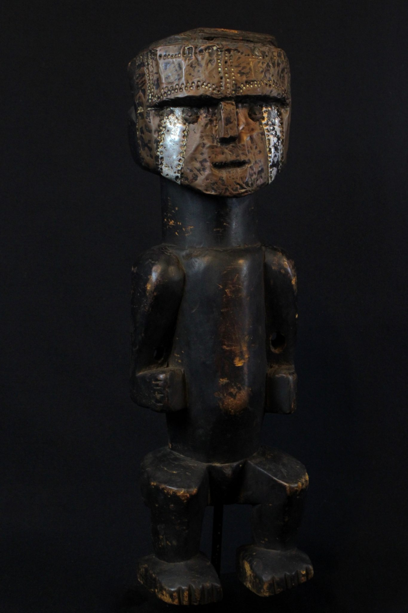 """Shaman Effigy Statue, Sumatra Island, Indonesia, Batak tribe, Early to mid 20th c, Wood, metal, pigment, patinated with use and age. For protecting the shaman during healing rituals. 15 ¾"""" x 5"""" x 4 ¾"""", $800."""