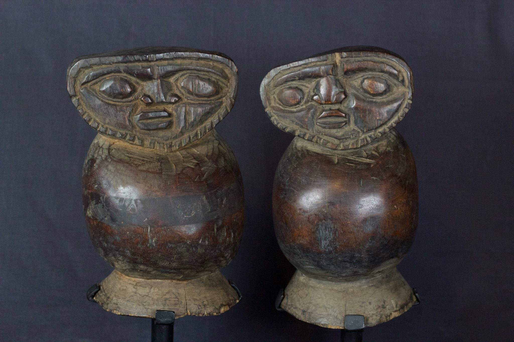 """Magic Ghost Figures, Lombok Island, Lesser Sunda Islands, Indonesia, Early 20th c, Wood, smooth patina from use and age. 8 ½"""" x 5 ¾"""" x 5 ½"""", $790 (sold as pair)"""