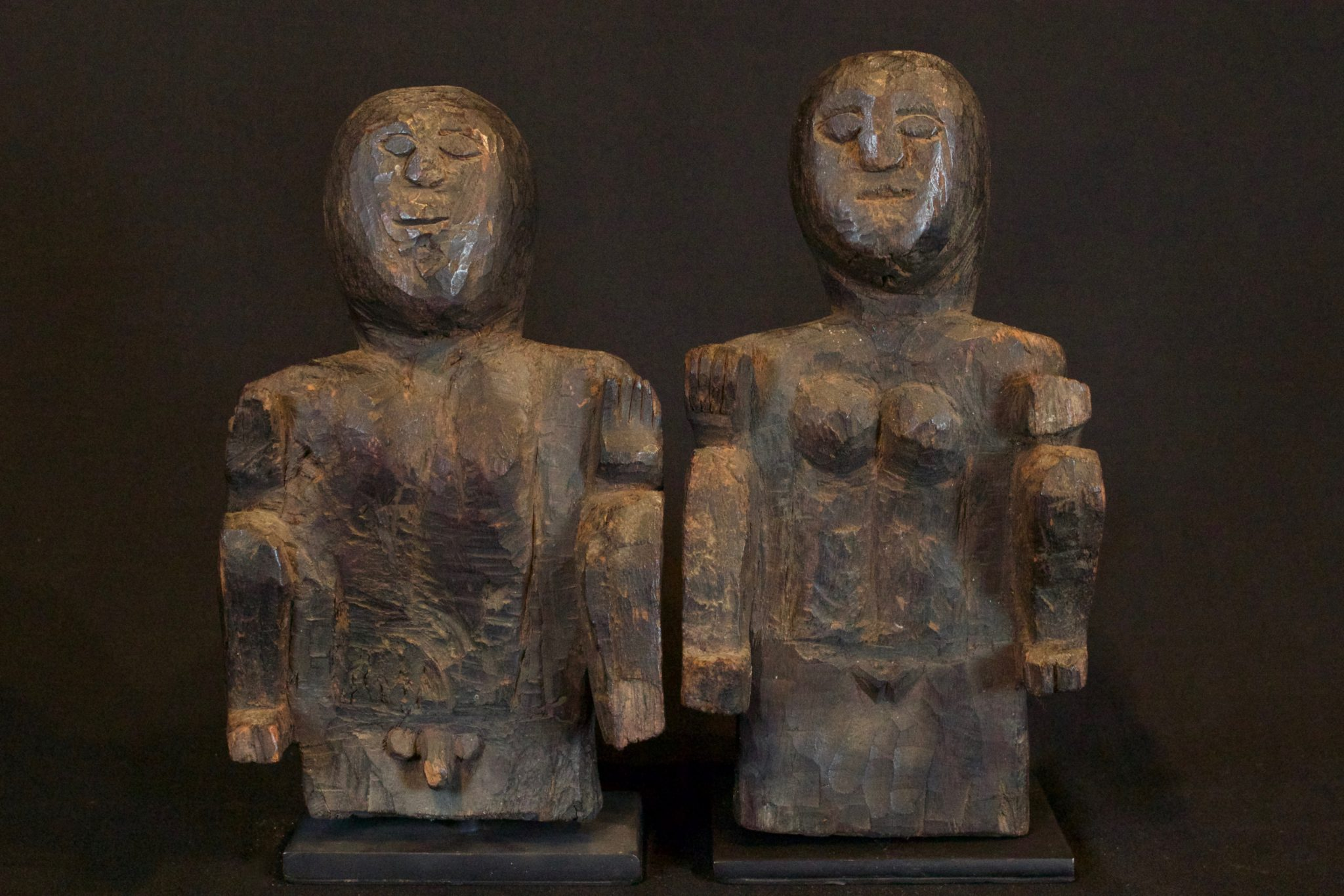 """Ancestral Offering Figures, Timor Island, Lesser Sunda Islands, Indonesia, Anakalang tribe, Early to mid 20th c, Wood. Used by shaman for healing rituals. (left, male fig - 8 ½"""" x 5"""" x 3 ½""""); (right female fig -9"""" x 4 ¾"""" x 4""""), $875. (sold as pair)"""