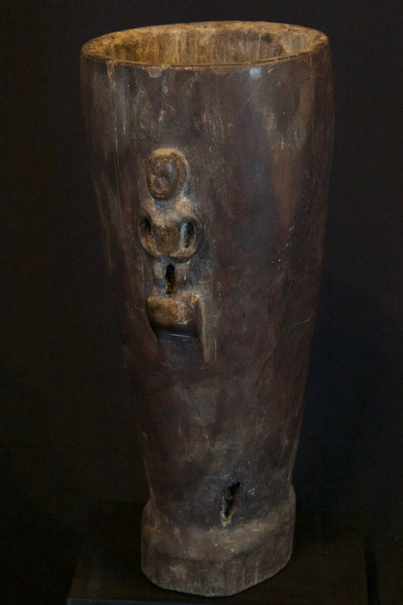 "Shaman Medicine Mortar (rare), Lesser Sunda Islands, Indonesia, Early 20th c, Wood. Preparing medicines using a pestle to grind, 10 ¾"" x 4"" x 4 ½"", $425."