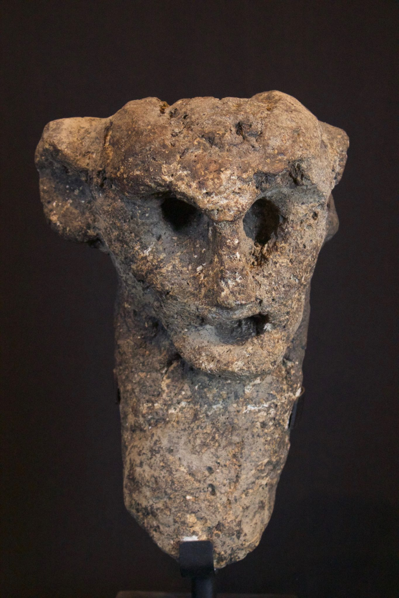 """Shaman's Effigy Figure, West Flores Island, Lesser Sunda Islands, Indonesia, Bena village, Early to mid 10th c. Stone, Used by shaman for healing and divination. 11 ½"""" x 7 ½"""" x 5 ½"""", Sold"""