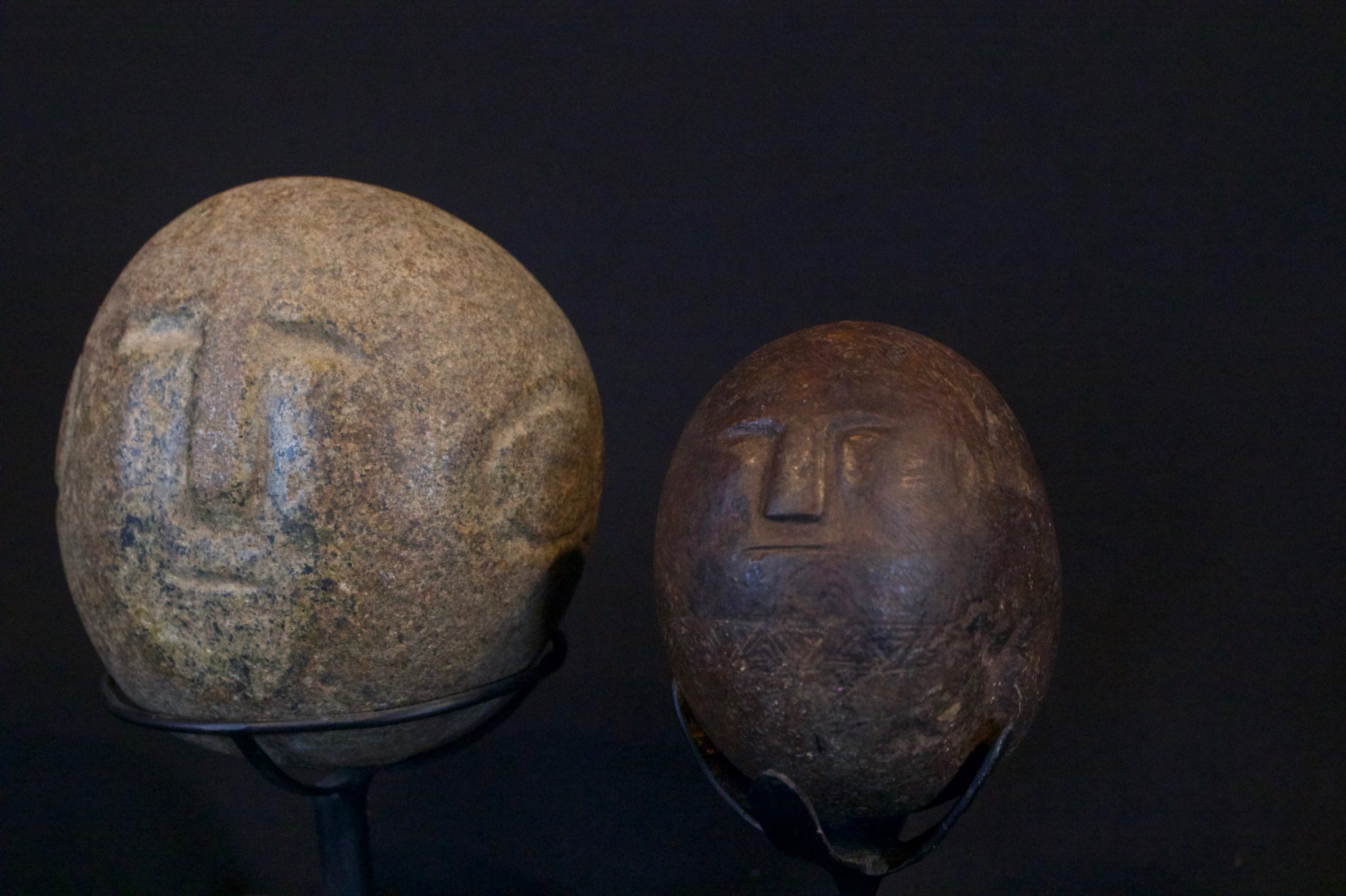 """Healing Figures, Timor Island, Lesser Sunda Islands, Indonesia, Mid to late 19th c. Stone, patinated with use and age. Used in healing rituals. (left - late 19th c, 3 ¾"""" x 2 ¾"""" x 3 ¼"""", sold); (right - mid 19th c, 3 ¾"""" x 2 ¾"""" x 3 ¼"""", sold)"""