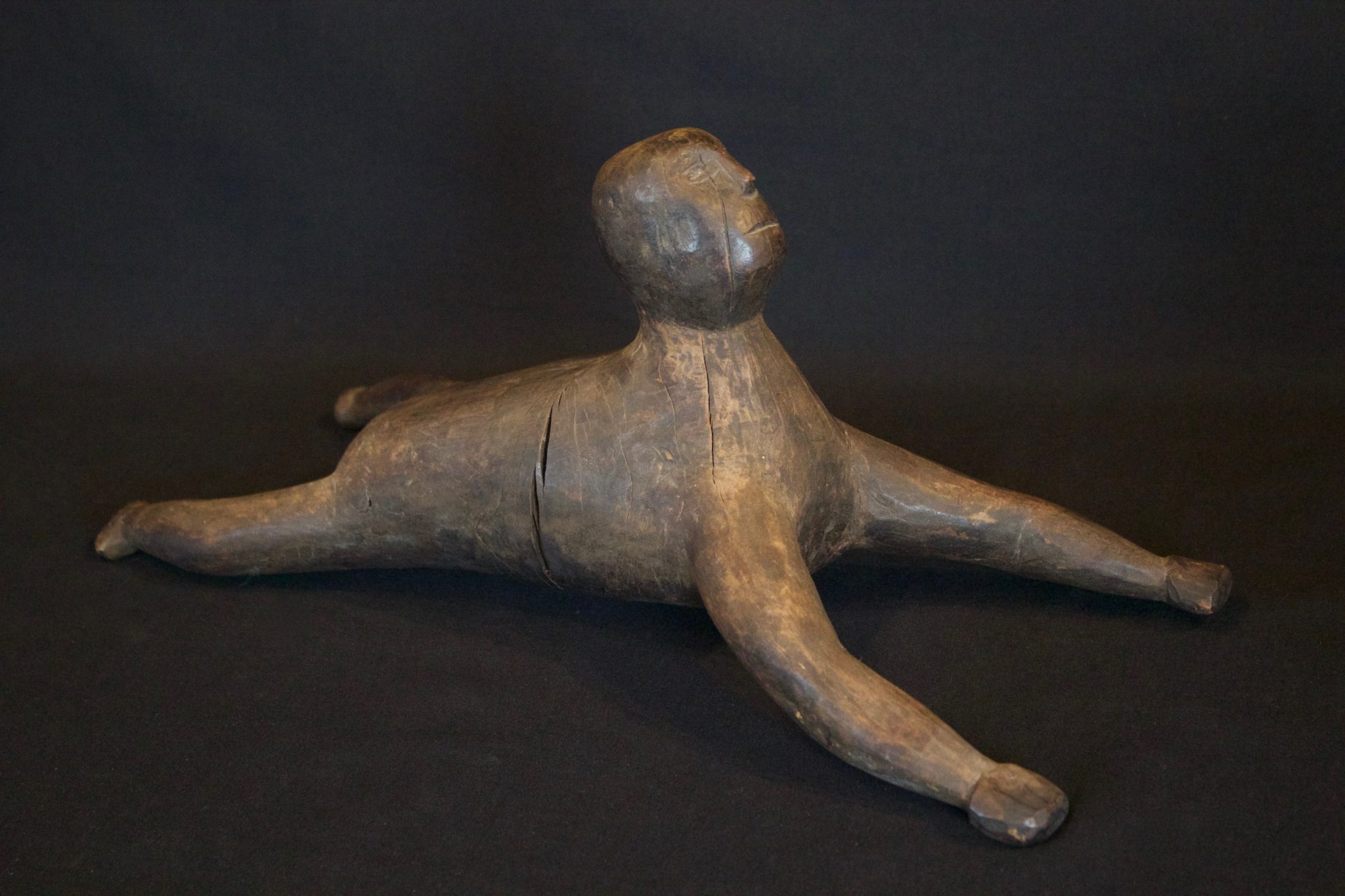 """Hunting Spirit Guide, West Sumba Island, Lesser Sunda Islands, Indonesia, Kodi village. Early to mid 20th c. Wood, patinated with use and age. Spirit guide figure to pray to before hunting or fishing. 7"""" x 6 ½"""" x 16"""", $325."""