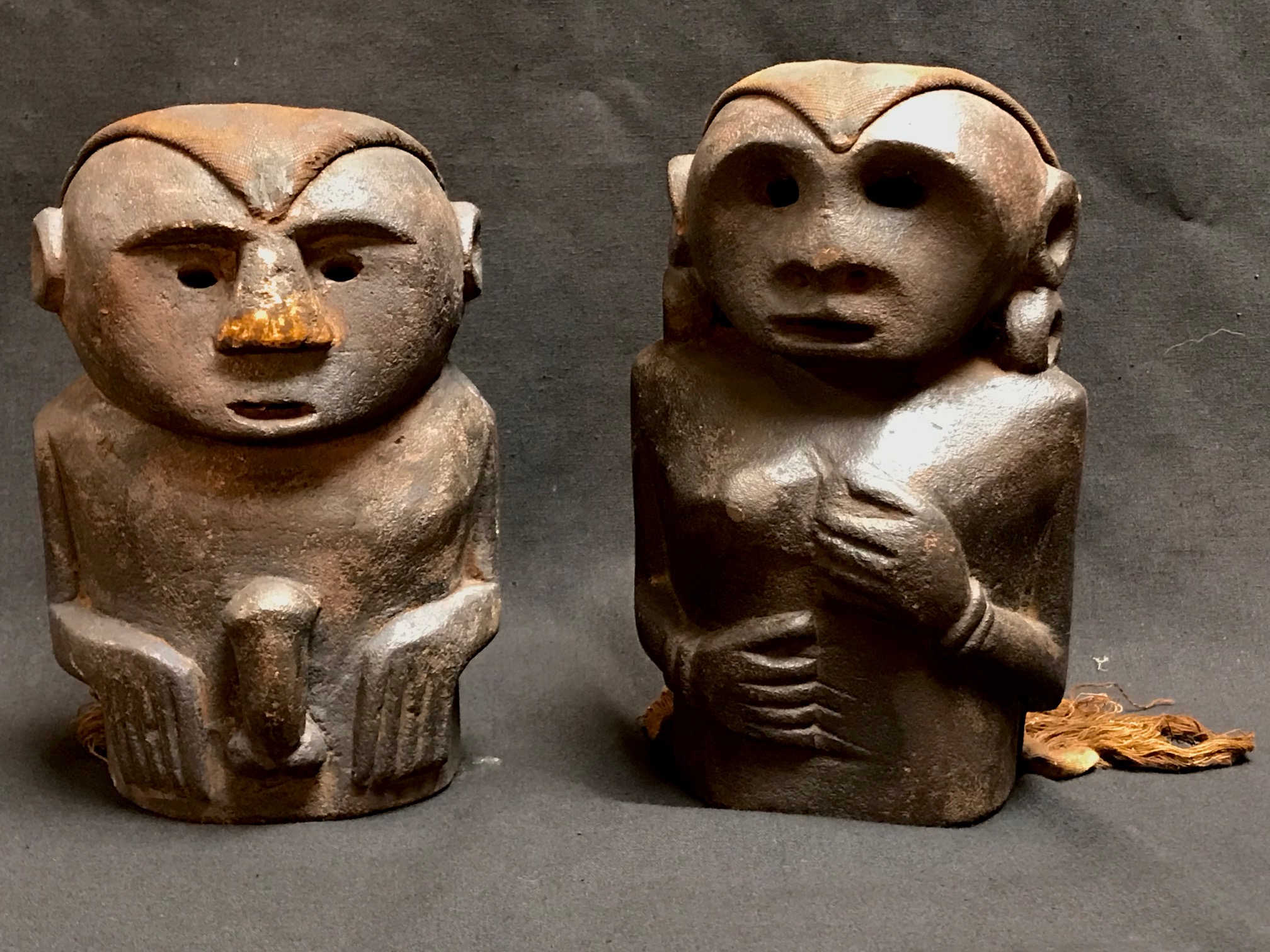 """Shaman Male and Female Figures (pair) Timor Island, Indonesia, used to protect the home and for healing. Early to mid 20th c., stone, cloth, pigment, (male - 7 1/4"""" x 5 1/4"""") (female - 7 3/4""""x 5""""),"""