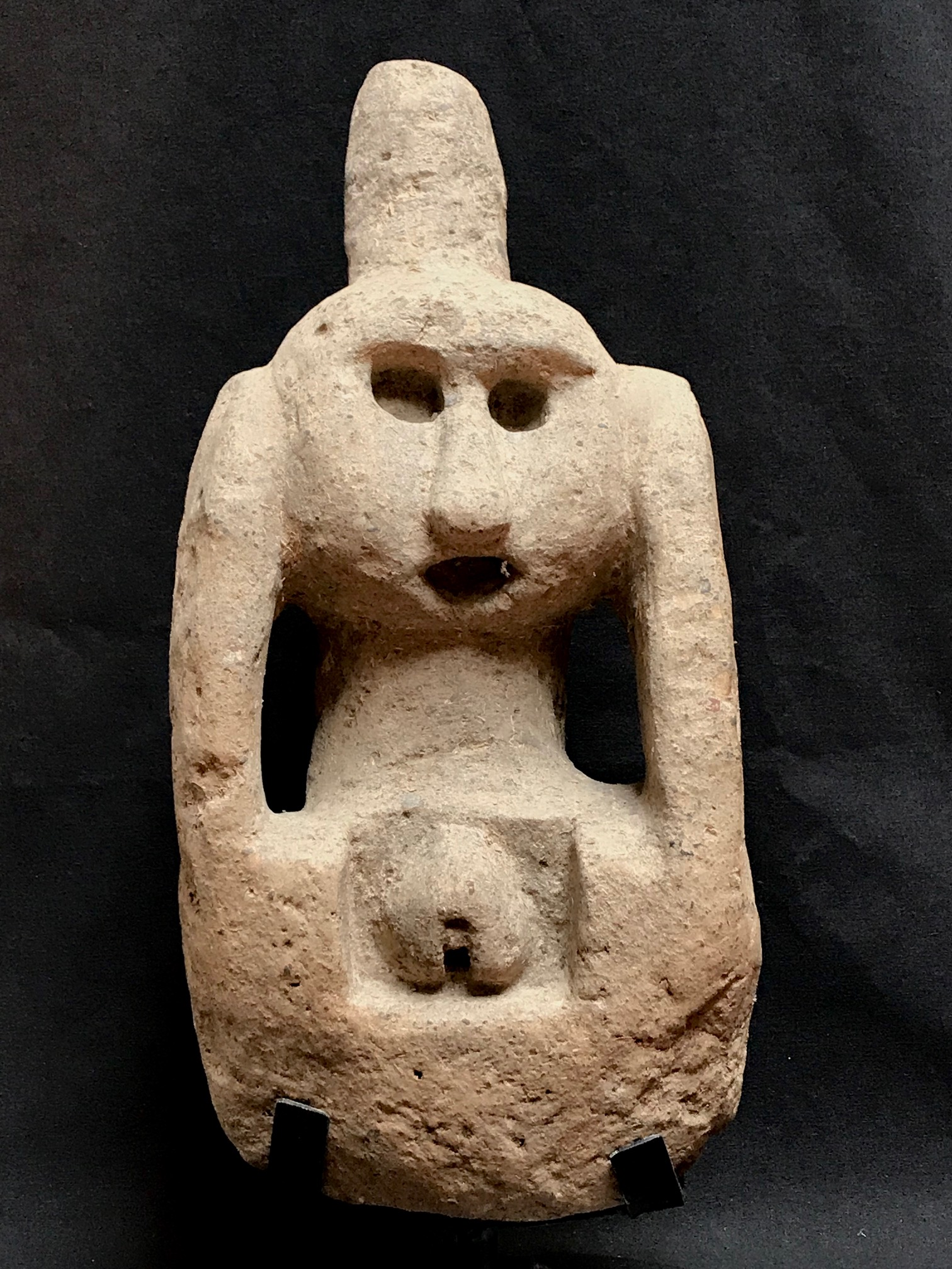 """Female Magic Figure, Shaman uses this for prayer and to gather healing power to treat people. Kodi village, West Sumba, Indonesia, early to mid 20th c., stone, 14 1/2"""" x 7"""" x 6 1/2"""" without base (16 1/2"""" with base),"""