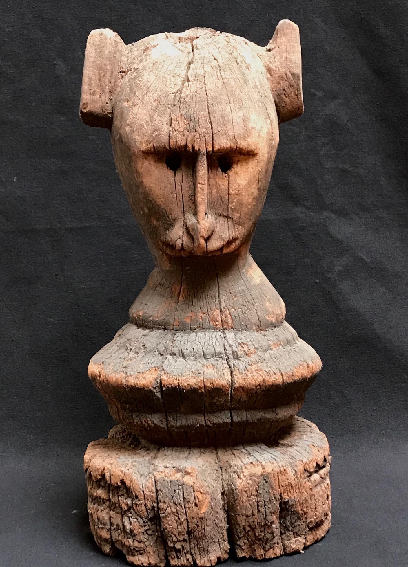 "Shaman healing object, from near Kodi village, West Sumba Island, Indonesia, mid 20th c., jack fruit wood, 11 1/2"" x 6"" x 5"","