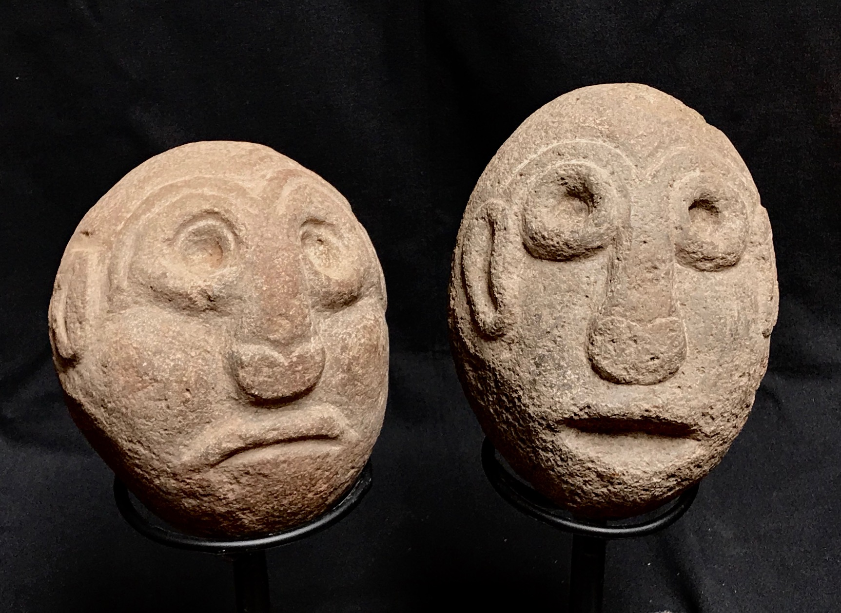 """Shaman figures used in rituals to make rain, Indonesia, Timor Island, early to mid 20th c., stone, ~ 7"""" x 5"""""""