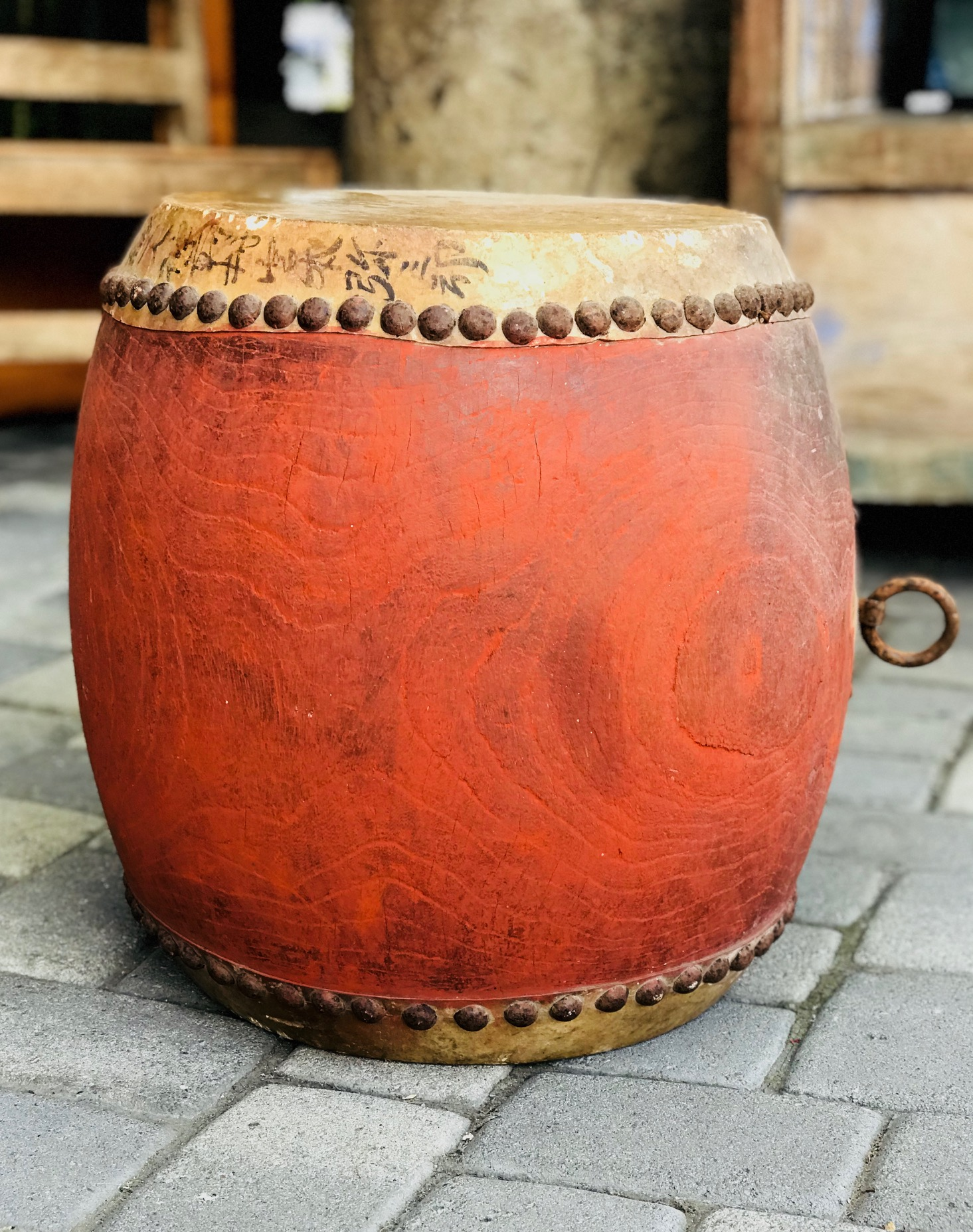 """Musical Instrument, Early 19th c Edo Period Taiko Style (tacked down) Japanese Drum, Keyaki wood (Japanese Red Elm), rawhde, red paint metal tacks, ink, 19"""" x 18"""", $1250.; thedavidalancollection.com , solana beach, ca"""