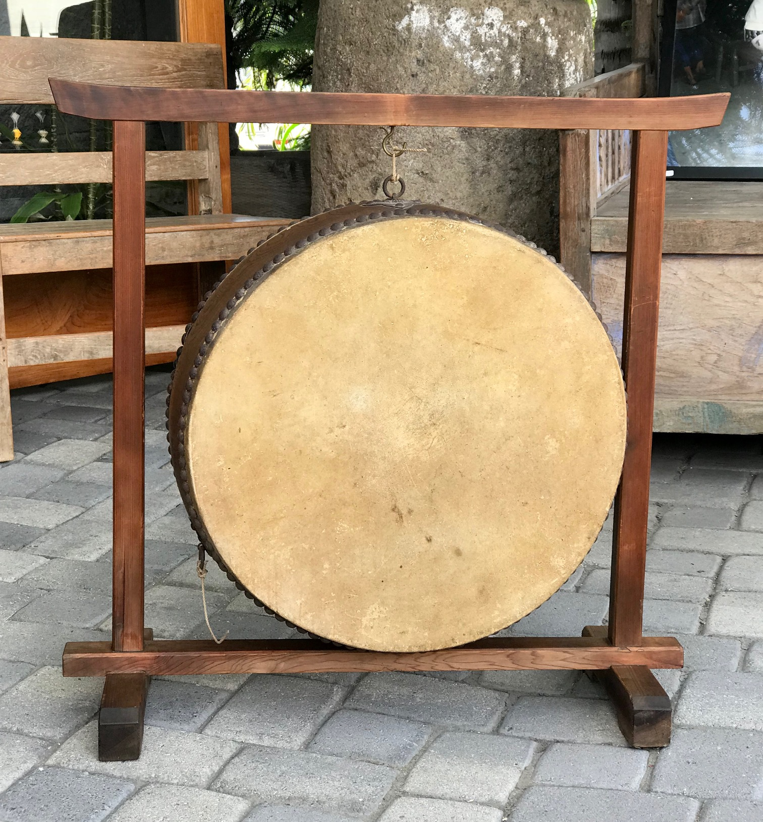 """Japanese Hanging Temple Drum, wood, rawhide, metal tacks and rings, 22 1/2"""" x 33"""", (31"""" x 33"""" with frame), $950.; thedavidalancollection.com , solana beach, ca"""