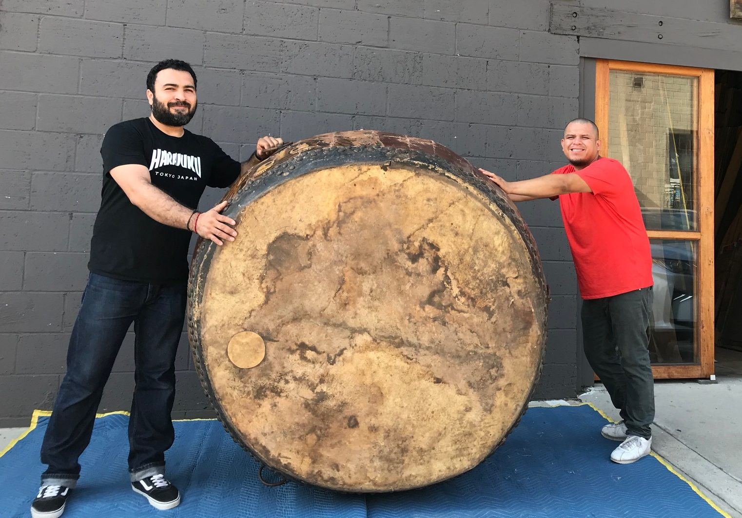 "Musical Instrument, Large Drum, Byo-Uchi-Daiko (drum with tacks), Japan, vintage, Wood, metal, hide, paint, 60"" x 35"", $, thedavidalancollection.com , solana beach, Ca"