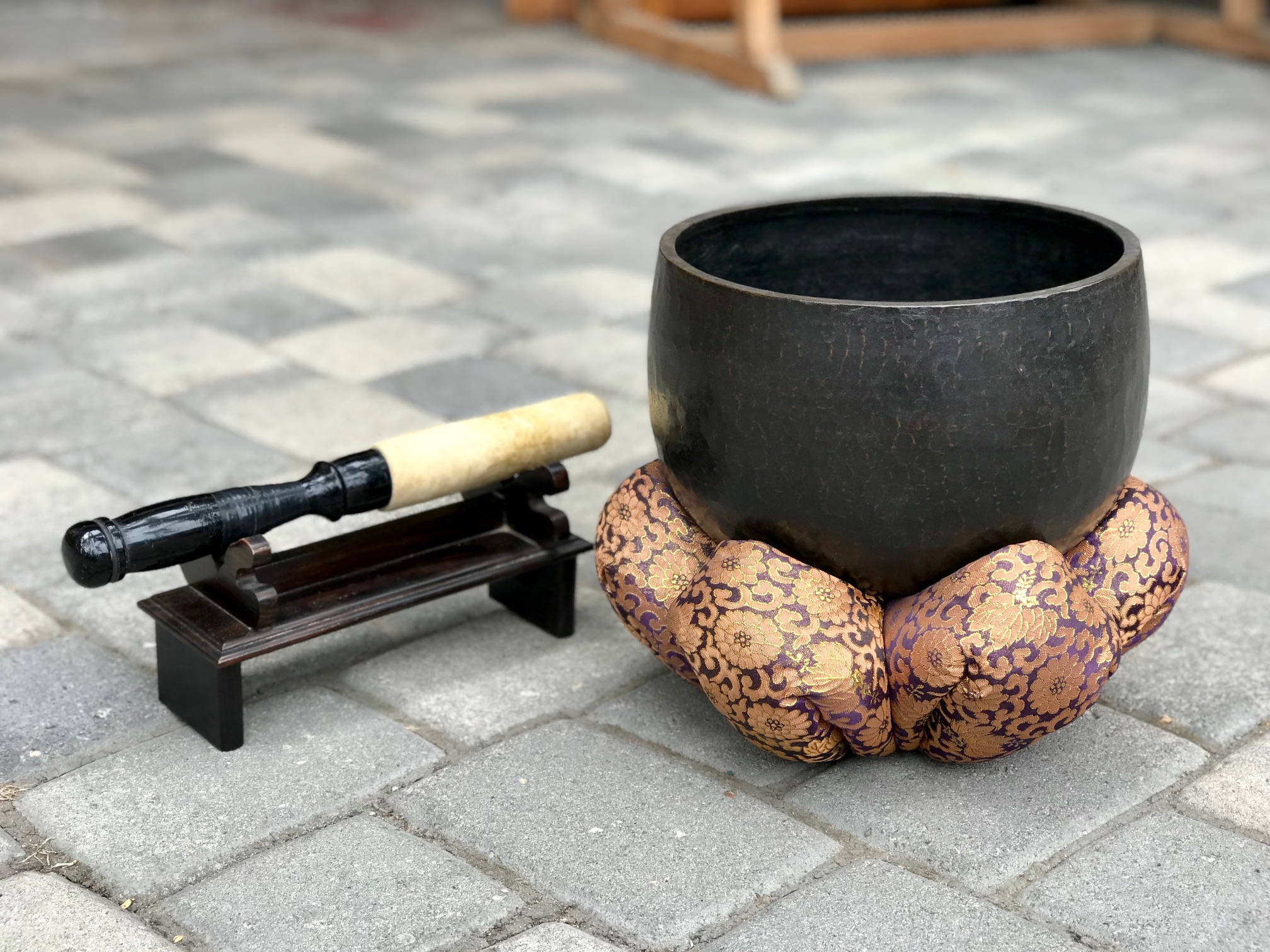"""Buddhist Temple Altar, Hammered Bronze, Singing Bowl and Cushion Stand, with Wooden and hyde Striker and Striker Stand Japan, 7"""" x 10"""" (10 1/2"""" x 12 1/2"""" with cuchion, striker - 13 1/2"""" x 2"""" (5 1/2"""" tall with striker stand) $1250., thedavidalancollection.com , solana beach, ca,"""