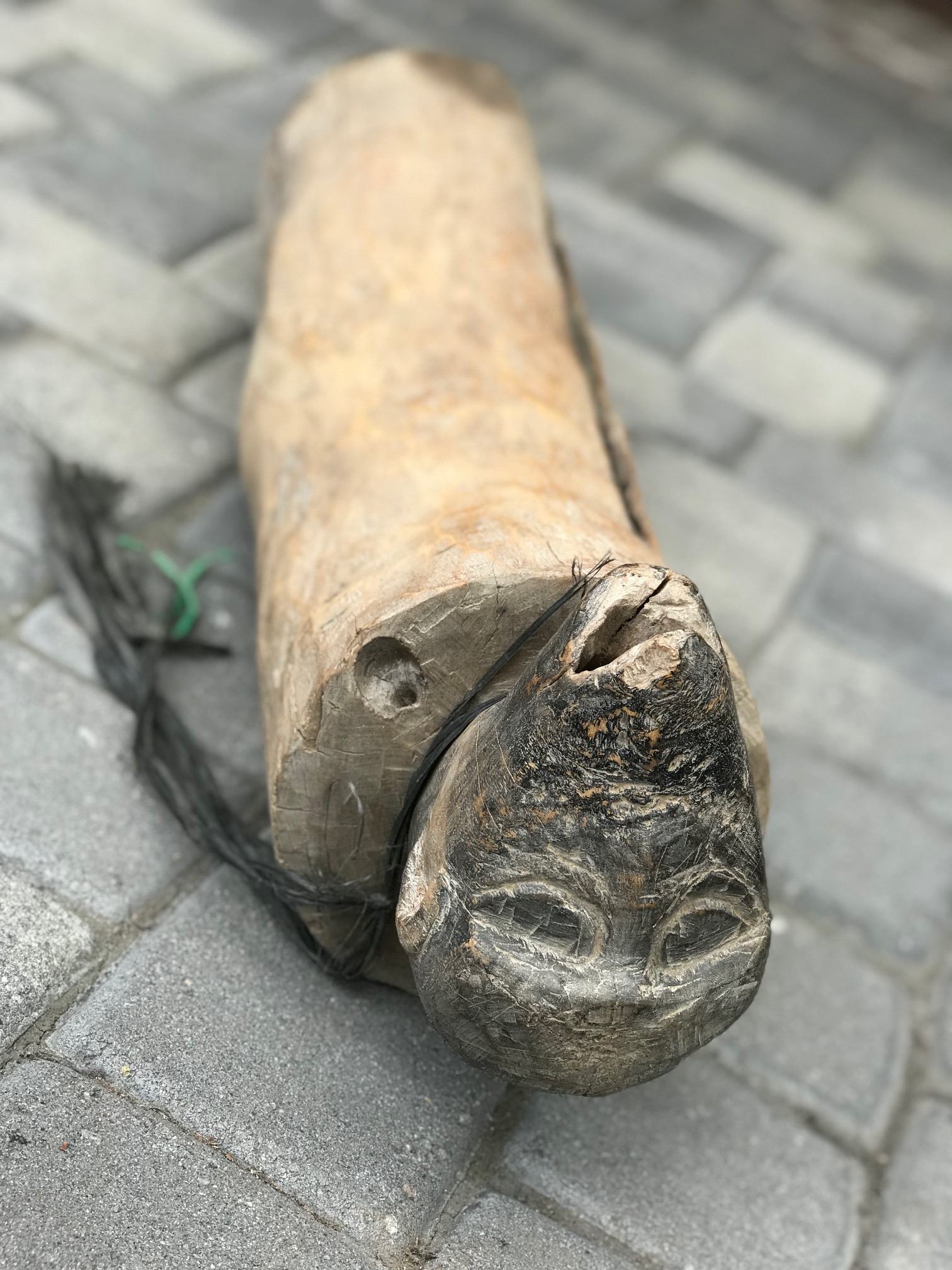 """detail of head carving, Tribal Musical Instrument, Slit Drum or Gong with zoomorphic head, Indonesia, wood, pigment on head, 9"""" x 31"""" x 7"""", thedavidalancollection.com , solana beach, ca"""