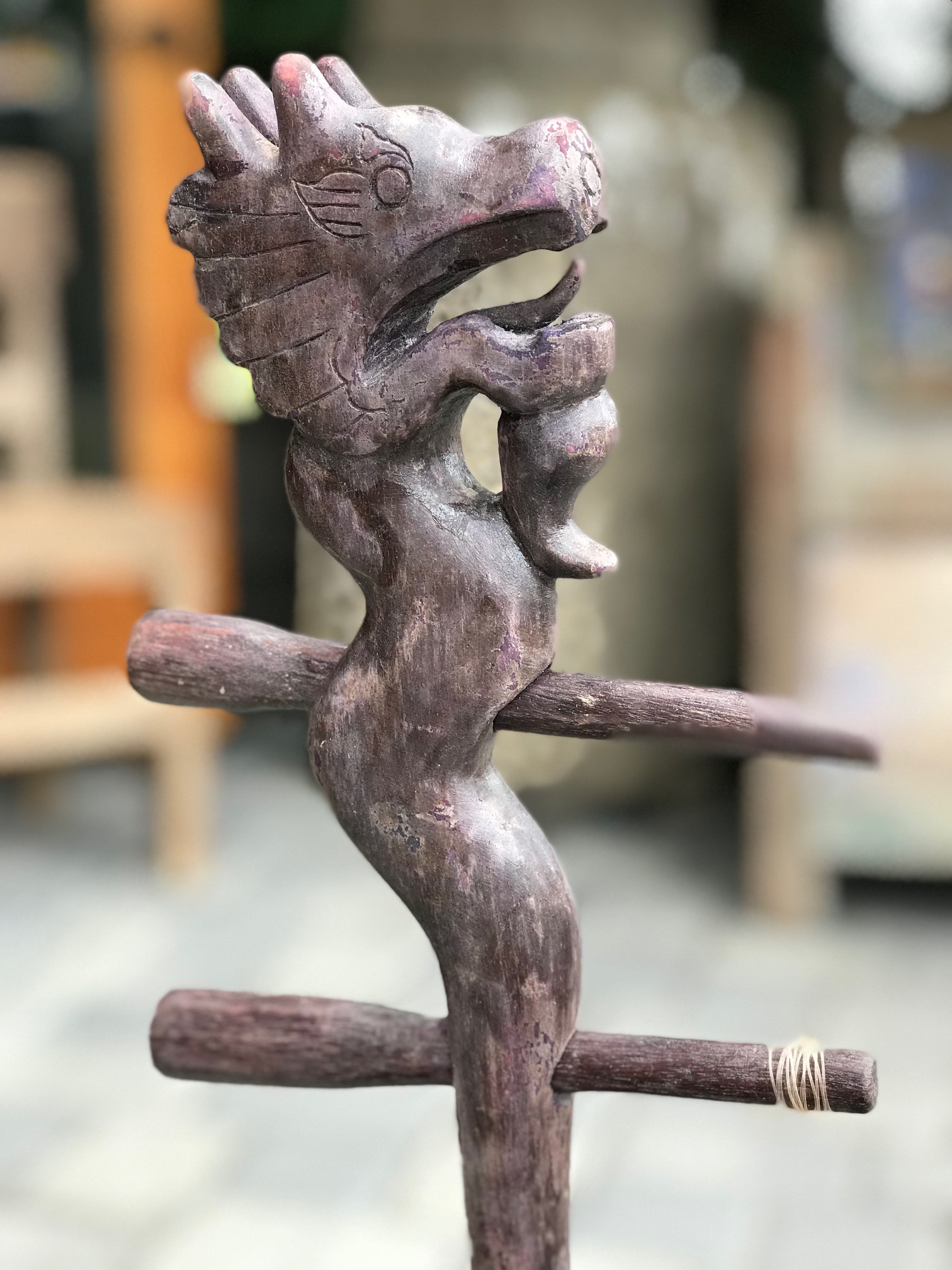 """detail of top with tuning pegs - 2 String Musical Instrument played with a bow (strings and bow missing), Chinese, wood, snakeskin, pigment, 29 1/2"""" x 3 1/2"""" x 6 1/2"""". $400.; thedavidalancollection.com , Solana Beach, CA"""