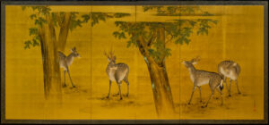 Japan Six-Panel Gold Deer Byobu Wall-Mount