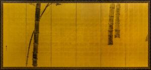 Six-Panel Gold Bamboo Byobu