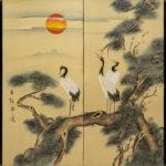 Two-Panel Crane Sunrise Byobu