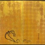 Two-Panel Gold Mouse Byobu